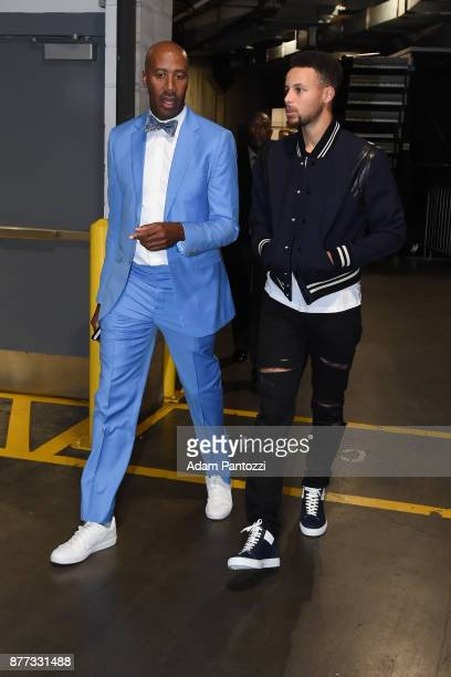 Stephen Curry of the Golden State Warriors arrives before the game against the LA Clippers on October 30 2017 at STAPLES Center in Los Angeles...