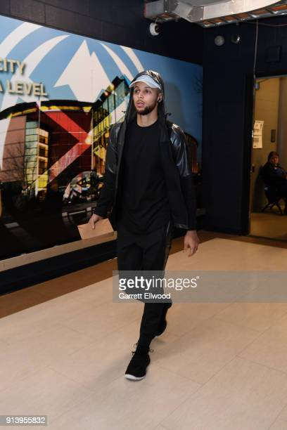 Stephen Curry of the Golden State Warriors arrives before the game against the Denver Nuggets on February 3 2018 at the Pepsi Center in Denver...