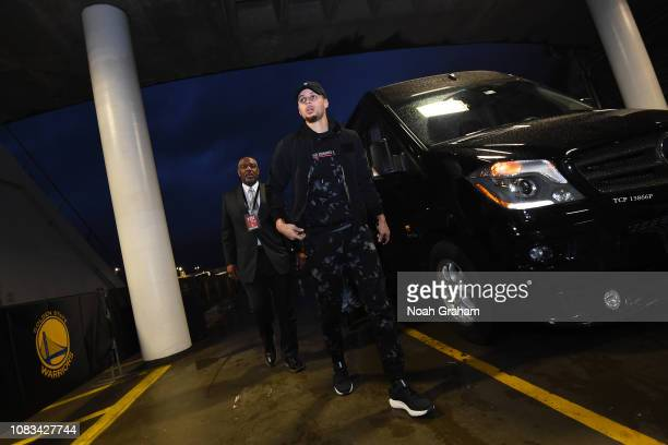 Stephen Curry of the Golden State Warriors arrives prior to a game against the New Orleans Pelicans on January 16 2019 at ORACLE Arena in Oakland...