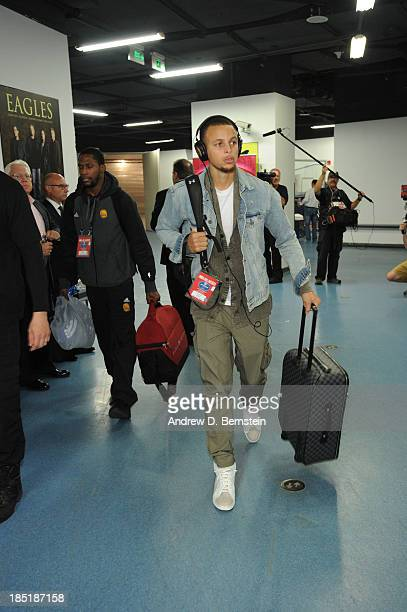 Stephen Curry of the Golden State Warriors arrives prior to the game against the Los Angeles Lakers during the 2013 Global Games on October 18 2013...