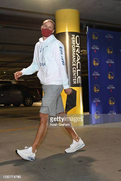 Stephen Curry of the Golden State Warriors arrives to the arena before the game against the Oklahoma City Thunder on April 8, 2021 at Chase Center in...