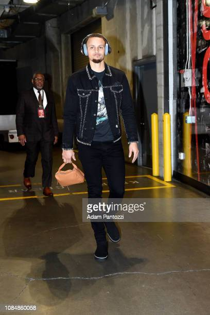 Stephen Curry of the Golden State Warriors arrives to the game against the LA Clippers on January 18 2019 at STAPLES Center in Los Angeles California...