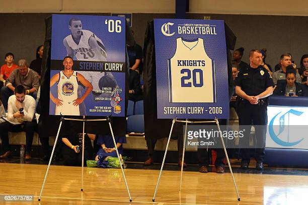 Stephen Curry of the Golden State Warriors attends a jersey retirement  ceremony at Charlotte Christian School c7be811e8