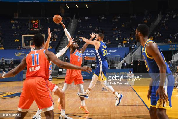 Stephen Curry of the Golden State Warriors blocks shot against the Oklahoma City Thunder on April 8, 2021 at Chase Center in San Francisco,...