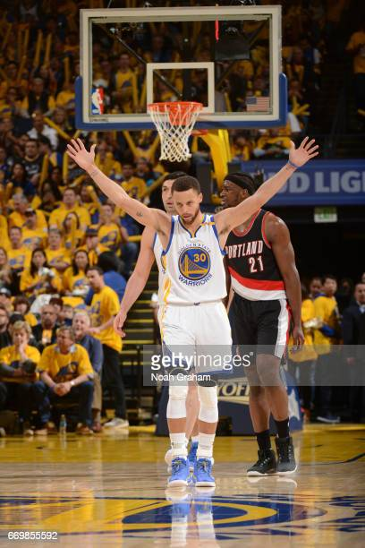 Stephen Curry of the Golden State Warriors celebrates a play during the Western Conference Quarterfinals game against the Portland Trail Blazers...