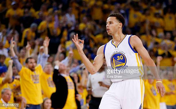 Stephen Curry of the Golden State Warriors celebrates a threepointer in the first quarter against the Houston Rockets during Game One of the Western...