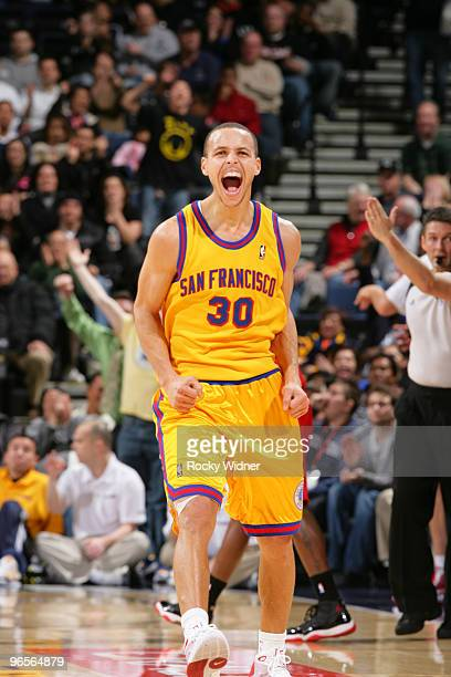 Stephen Curry of the Golden State Warriors celebrates after a made three pointer in a game against the Los Angeles Clippers on February 10, 2010 at...