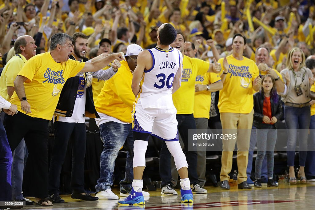 Stephen Curry #30 of the Golden State Warriors celebrates after defeating the Oklahoma City Thunder 96-88 in Game Seven of the Western Conference Finals during the 2016 NBA Playoffs at ORACLE Arena on May 30, 2016 in Oakland, California.