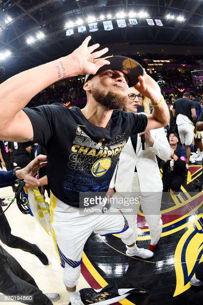 Stephen Curry of the Golden State Warriors celebrates after Game Four of the 2018 NBA Finals against the Cleveland Cavaliers on June 8 2018 at...