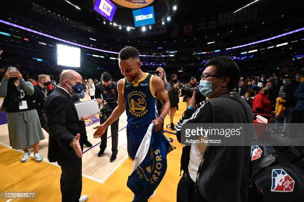 Stephen Curry of the Golden State Warriors celebrates after winning a game against the Los Angeles Lakers on October 19, 2021 at STAPLES Center in...