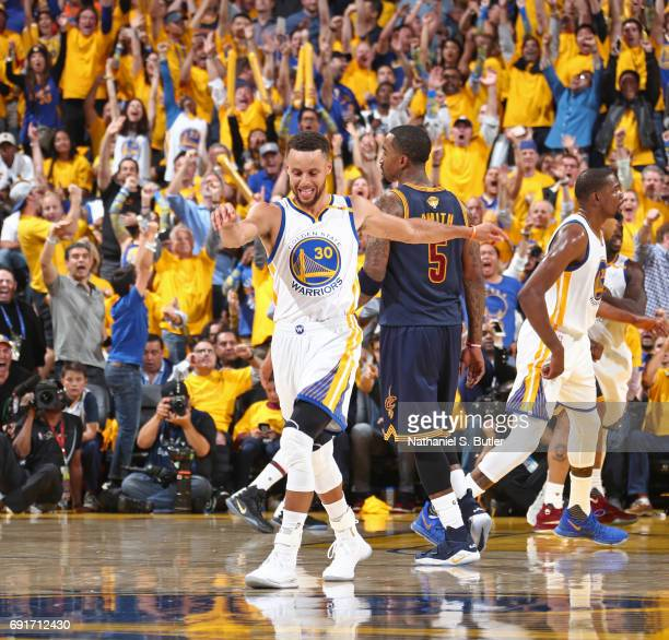Stephen Curry of the Golden State Warriors celebrates and dances up court in Game One of the 2017 NBA Finals against the Cleveland Cavaliers on June...