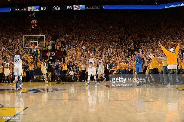 Stephen Curry of the Golden State Warriors celebrates during Game Seven of the Western Conference Finals against the Oklahoma City Thunder during the...