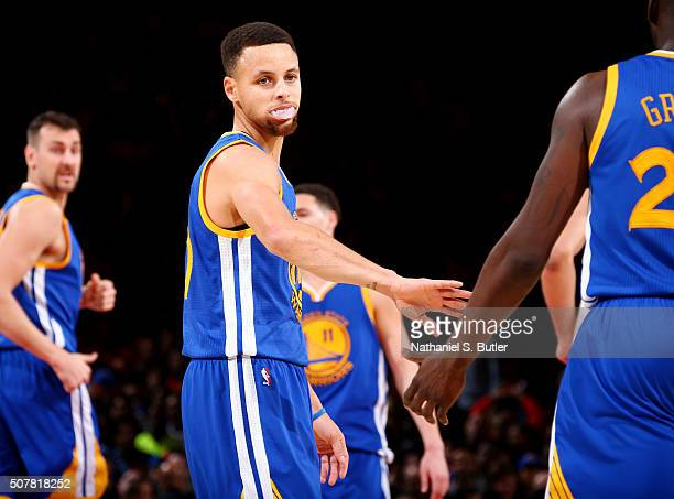 Stephen Curry of the Golden State Warriors celebrates during the game against the New York Knicks on January 31 2016 at Madison Square Garden in New...