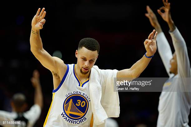 Stephen Curry of the Golden State Warriors celebrates during the second half of a game against the Los Angeles Clippers at Staples Center on February...
