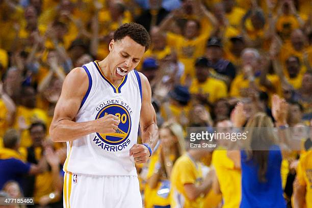 Stephen Curry of the Golden State Warriors celebrates in the fourth quarter against the Cleveland Cavaliers during Game Five of the 2015 NBA Finals...