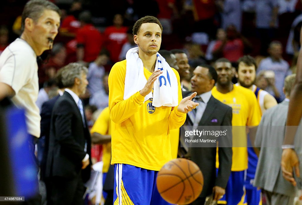 Stephen Curry #30 of the Golden State Warriors celebrates their 115 to 80 win over the Houston Rockets during Game Three of the Western Conference Finals of the 2015 NBA PLayoffs at Toyota Center on May 23, 2015 in Houston, Texas.
