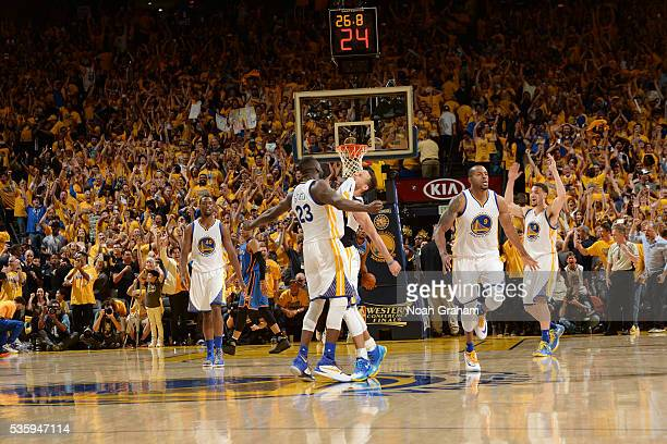 Stephen Curry of the Golden State Warriors celebrates with his teammates during Game Seven of the Western Conference Finals against the Oklahoma City...