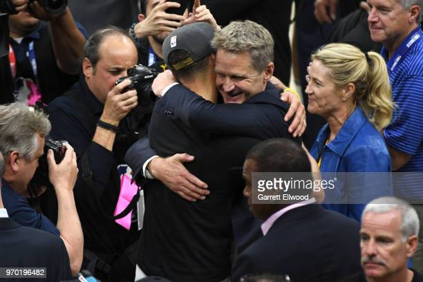 Stephen Curry of the Golden State Warriors celebrates with Steve Kerr of the after defeating the Cleveland Cavaliers and winning the NBA Championship...