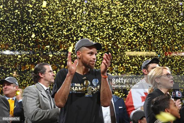 Stephen Curry of the Golden State Warriors claps and celebrates after winning Game Five of the 2017 NBA Finals against the Cleveland Cavaliers on...