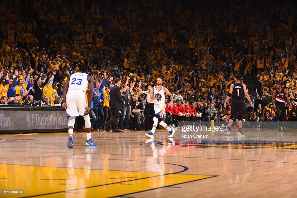 Stephen Curry #30 of the Golden State Warriors dances as he celebrates a three point basket during Game Two of the Western Conference Quarterfinals against the Portland Trail Blazers during the 2017 NBA Playoffs on April 19, 2017 at ORACLE Arena in Oakland, California.