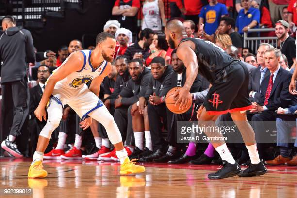 Stephen Curry of the Golden State Warriors defends Chris Paul of the Houston Rockets during Game Five of the Western Conference Finals of the 2018...