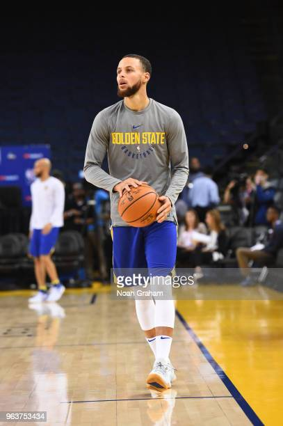 Stephen Curry of the Golden State Warriors does some drills during practice as part of the 2018 NBA Finals on MAY 30 2018 at ORACLE Arena in Oakland...