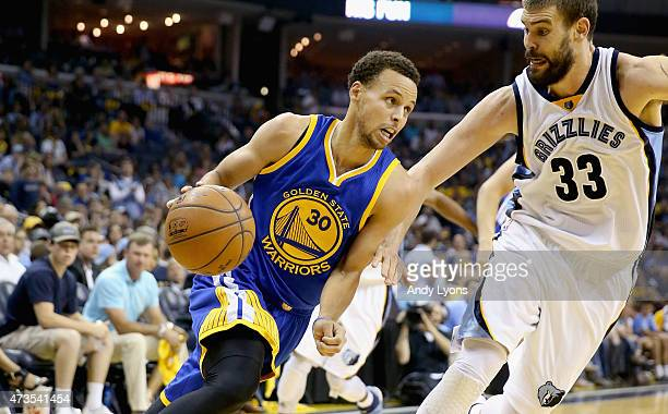 Stephen Curry of the Golden State Warriors dribbles the ball against the Memphis Grizzlies during Game six of the Western Conference Semifinals of...