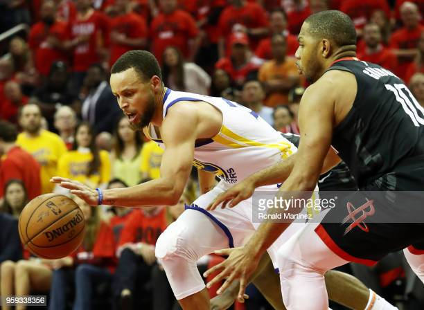 Stephen Curry of the Golden State Warriors drives against Eric Gordon of the Houston Rockets in the third quarter of Game Two of the Western...