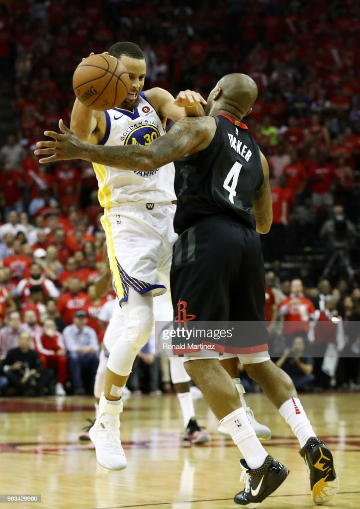 Stephen Curry #30 of the Golden State Warriors drives against PJ Tucker #4 of the Houston Rockets in the third quarter of Game Seven of the Western Conference Finals of the 2018 NBA Playoffs at Toyota Center on May 28, 2018 in Houston, Texas.