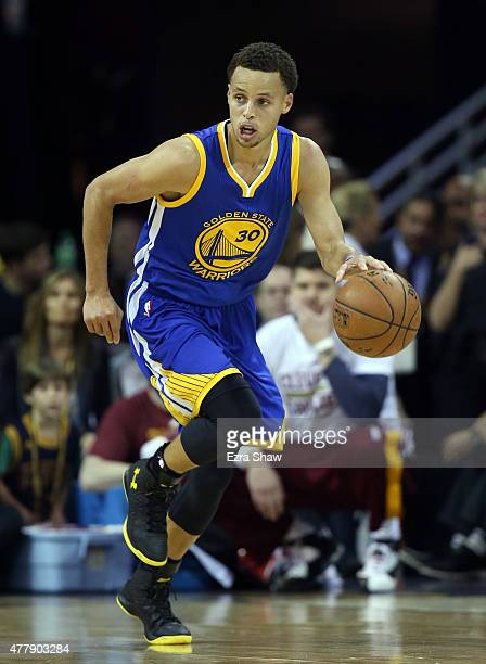 Stephen Curry of the Golden State Warriors drives against the Cleveland Cavaliers during Game Six of the 2015 NBA Finals at Quicken Loans Arena on...