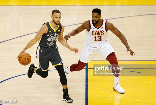 Stephen Curry of the Golden State Warriors drives against Tristan Thompson of the Cleveland Cavaliers in Game 2 of the 2018 NBA Finals at ORACLE...