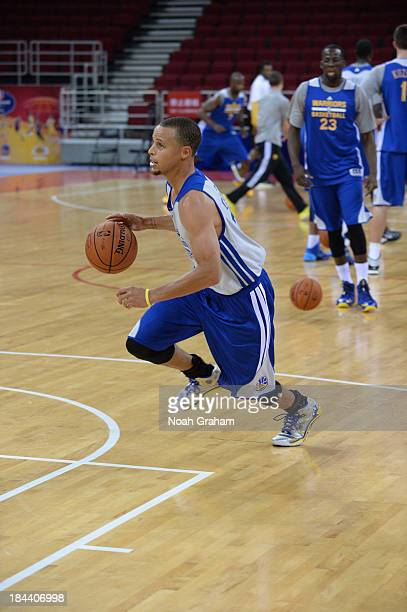 Stephen Curry of the Golden State Warriors drives during practice as part of 2013 Global Games on October 13 2013 at the MasterCard Center in Beijing...