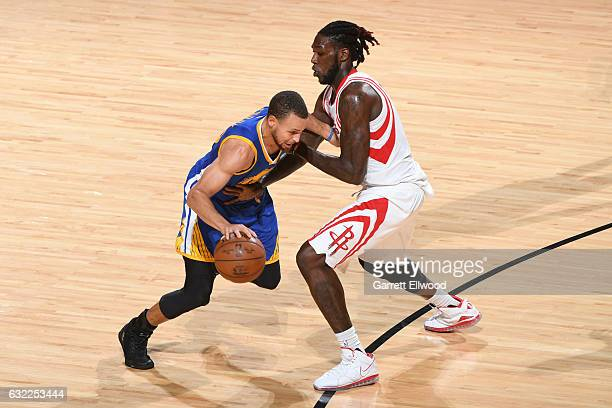 Stephen Curry of the Golden State Warriors drives to the basket against Montrezl Harrell of the Houston Rockets during the game on January 20 2017 at...