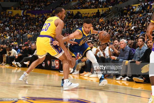 Stephen Curry of the Golden State Warriors drives to the basket against the Los Angeles Lakers on October 19, 2021 at STAPLES Center in Los Angeles,...