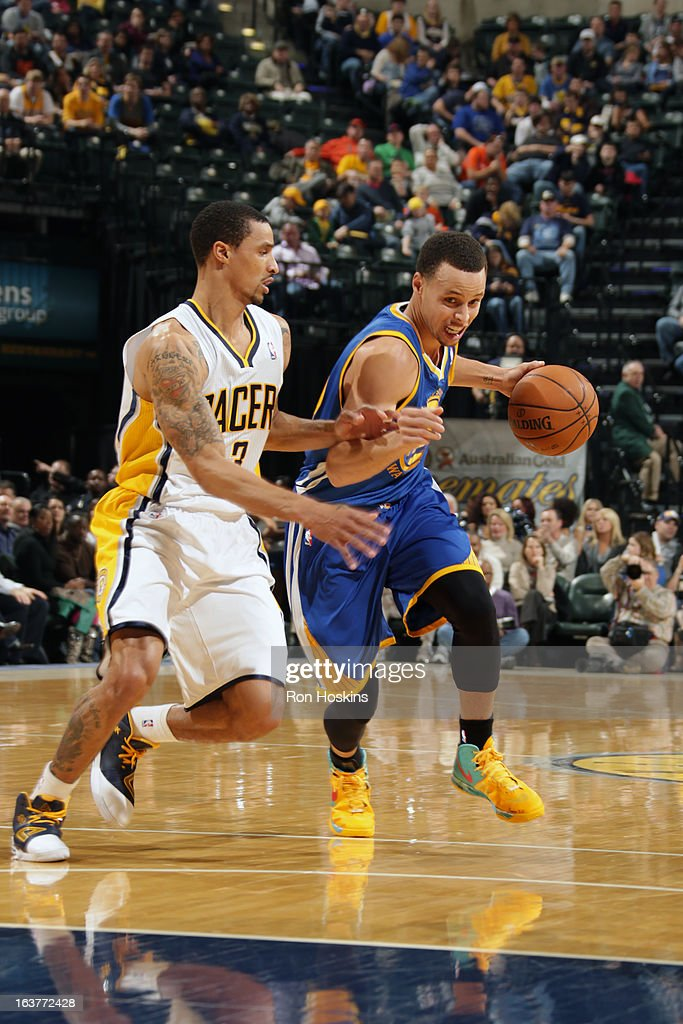 Stephen Curry #30 of the Golden State Warriors drives to the basket against the Indiana Pacers on February 26, 2013 at Bankers Life Fieldhouse in Indianapolis, Indiana.
