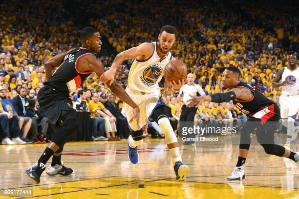Stephen Curry of the Golden State Warriors drives to the basket during the game against the Portland Trail Blazers during the Western Conference...