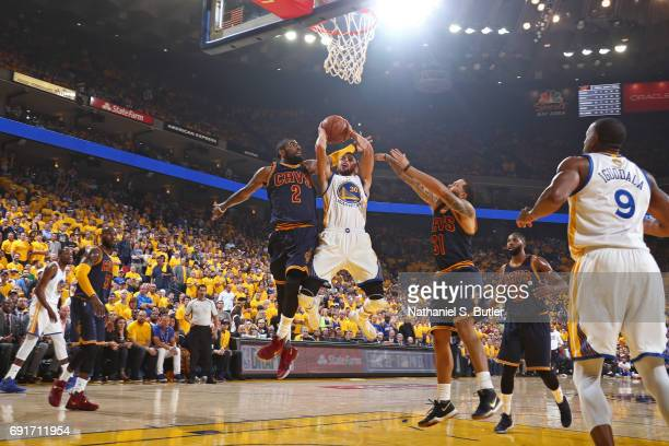 Stephen Curry of the Golden State Warriors drives to the basket against the Cleveland Cavaliers in Game One of the 2017 NBA Finals on June 1 2017 at...