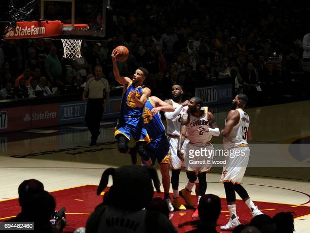 Stephen Curry of the Golden State Warriors drives to the basket against the Cleveland Cavaliers in Game Four of the 2017 NBA Finals on June 9 2017 at...