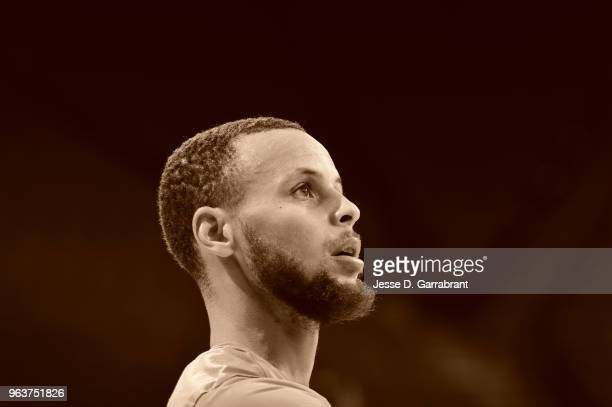 Stephen Curry of the Golden State Warriors during practice and media availability as part of the 2018 NBA Finals on MAY 30 2018 at ORACLE Arena in...