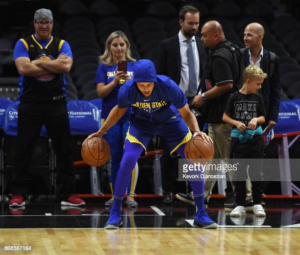 Stephen Curry of the Golden State Warriors during pre game warm up before the start of a basketball game against Los Angeles Clippers at Staples...