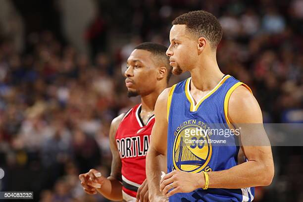 Stephen Curry of the Golden State Warriors during the game against the Portland Trail Blazers on January 8 2016 at the Moda Center in Portland Oregon...