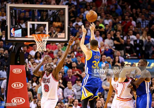 Stephen Curry of the Golden State Warriors during the game against the Miami Heat at the American Airlines Arena on February 24 2016 in Miami Florida...