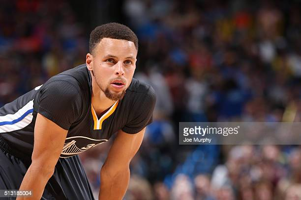 Stephen Curry of the Golden State Warriors during the game against the Oklahoma City Thunder on February 27 2016 at Chesapeake Energy Arena in...
