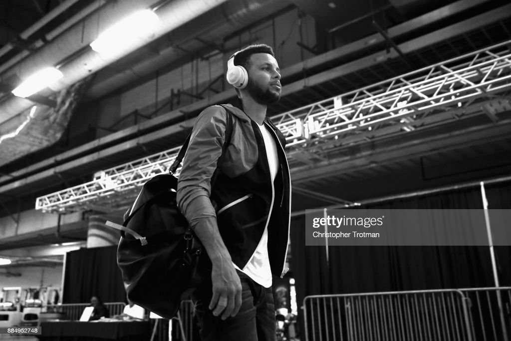 Stephen Curry #30 of the Golden State Warriors enters the arena prior to a game against the Miami Heat at American Airlines Arena on December 3, 2017 in Miami, Florida.