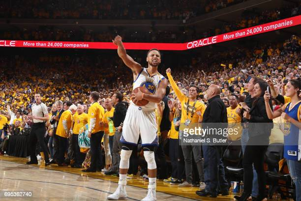 Stephen Curry of the Golden State Warriors fist pumps after winning Game Five of the 2017 NBA Finals against the Cleveland Cavaliers on June 12 2017...