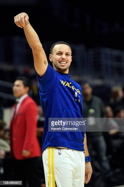 Stephen Curry of the Golden State Warriors gestures during warms up before the start of a basketball game against Los Angeles Clippers at Staples...