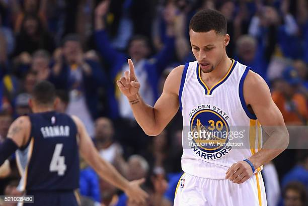 Stephen Curry of the Golden State Warriors gestures in the first half against the Memphis Grizzlies during the game at ORACLE Arena on April 13 2016...