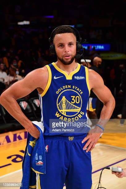 Stephen Curry of the Golden State Warriors gets interviewed after winning a game against the Los Angeles Lakers on October 19, 2021 at STAPLES Center...