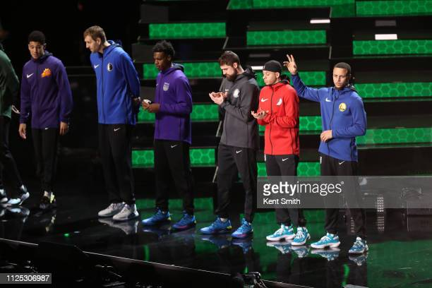Stephen Curry of the Golden State Warriors gets introduced before the 2019 Mtn Dew 3Point Contest as part of the State Farm AllStar Saturday Night on...