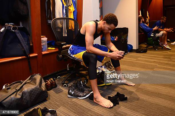 Stephen Curry of the Golden State Warriors gets ready before Game Four of the Western Conference Quarterfinals against the New Orleans Pelicans...